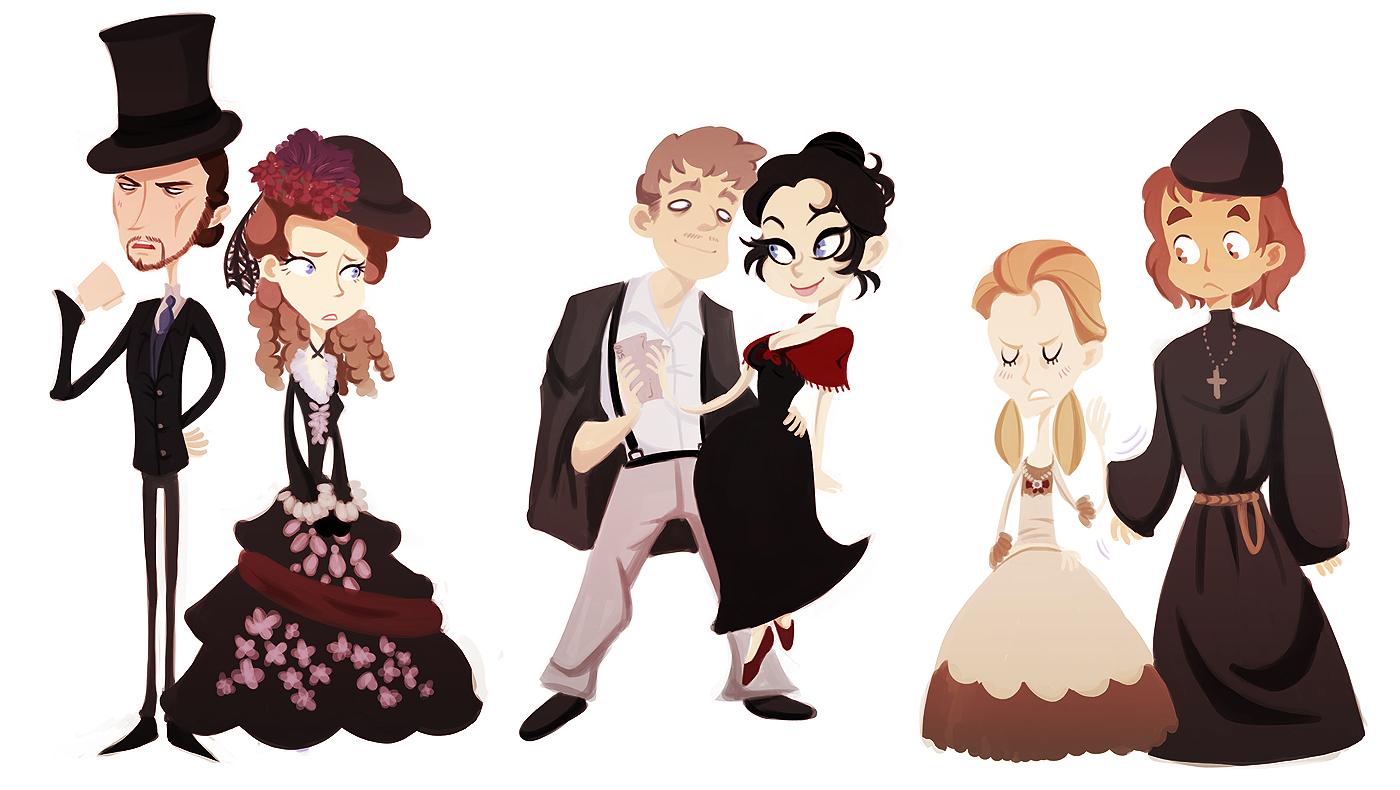 از راست: آلیوشا، لیزا، گروشنکا، دیمیتری، کاترینا، ایوان.